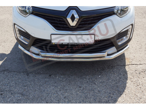 Защита переднего бампера двойная диаметр трубы 63/63мм (НПС) Renault Kaptur