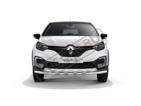 Защита переднего бампера двойная с пластинами 63/63мм (НПС) Renault Kaptur