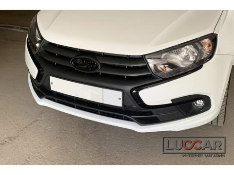 Накладки (антихром) на молдинги переднего бампера Lada Granta FL
